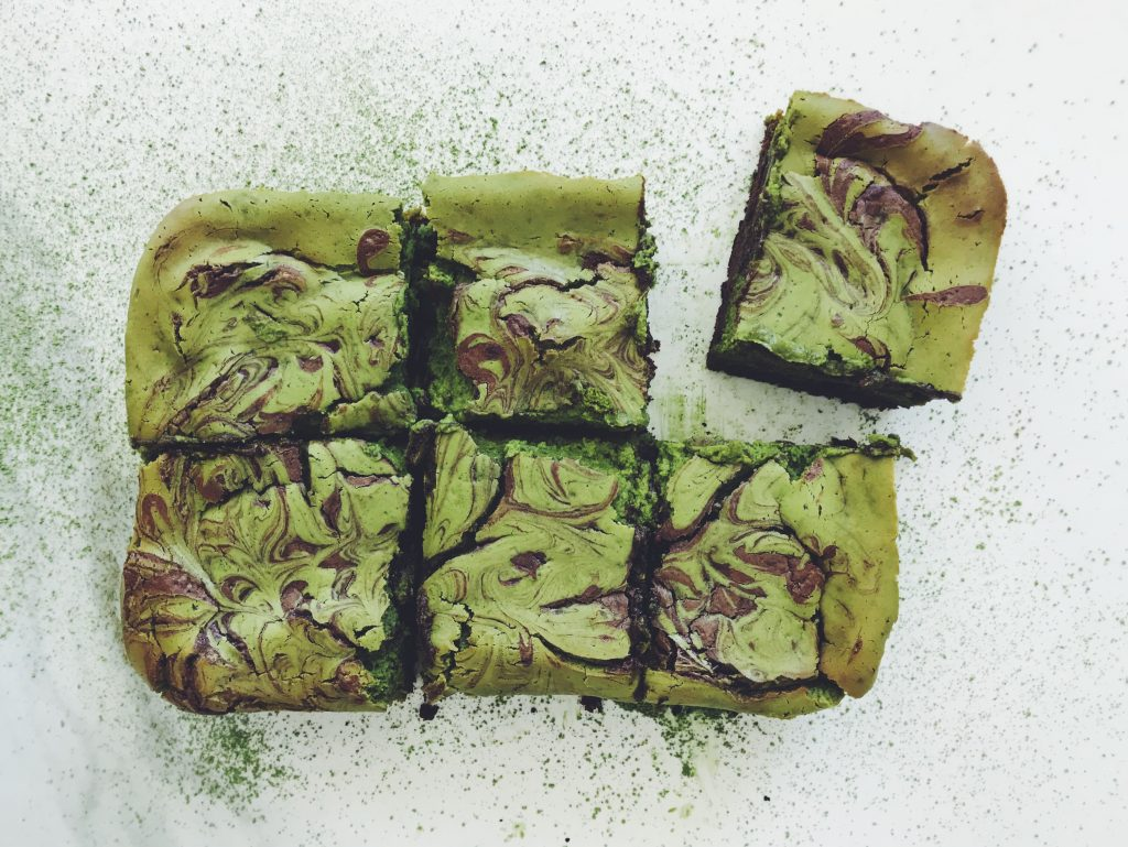 brownie cheesecake matcha recipe postre